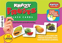 Krazy Fruits Marathi Flash Cards With Plastic Ring - 26 Large Flash Cards