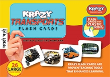 Krazy Transports Marathi Flash Cards With Plastic Ring - 26 Large Flash Cards