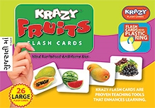 Krazy Fruits Gujarati Flash Cards With Plastic Ring - 26 Large Flash Cards
