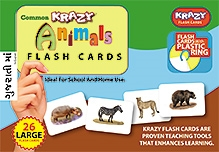 Krazy Animals Gujarati Flash Cards With Plastic Ring - 26 Large Flash Cards