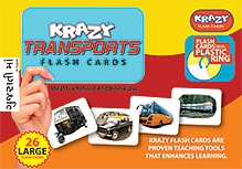 Krazy Transports Gujarati Flash Cards With Plastic Ring - 26 Large Flash Cards