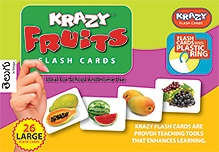 Krazy Fruits Telugu Flash Cards With Plastic Ring - 26 Large Flash Cards