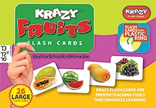 Krazy Fruits Kannada Flash Cards With Plastic Ring - 26 Large Flash Cards