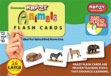 Krazy Animals Kannada Flash Cards With Plastic Ring - 26 Large Flash Cards