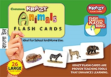 Krazy Animals Bengali Flash Cards With Plastic Ring - 26 Large Flash Cards