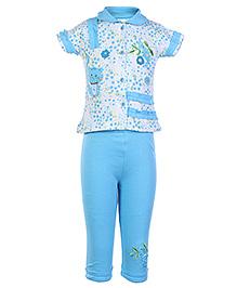 Cucumber Blue Front Open T Shirt With Legging - Cat Patch - Medium