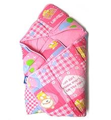 Littles Dry Robe Bath Robe Teddy Bear Print Pink