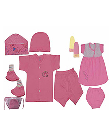 JO Kidswear Pink Clothing Gift Set With Feeding Bottle