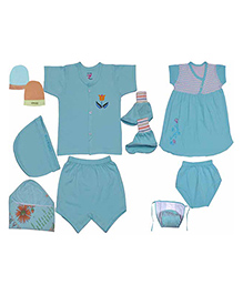 JO Kidswear Blue Clothing Gift Set With Feeding Bottle