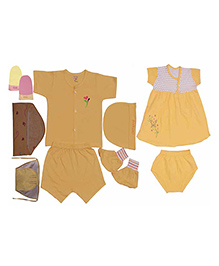 JO Kidswear Yellow Clothing Gift Set With Feeding Bottle