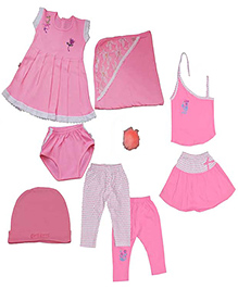 JO Kidswear Clothing Gift Set With Feeding Bottle - Pink