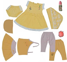 JO Kidswear Clothing Gift Set With Feeding Bottle - Yellow