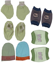JO Kidswear Cap Booties Mittens And Knee Pads - Green