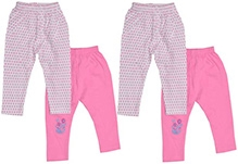 JO Kidswear Pink Full Length Leggings - Set Of Four