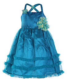 Peaches Singlet Peacock Blue Ruffle Dress