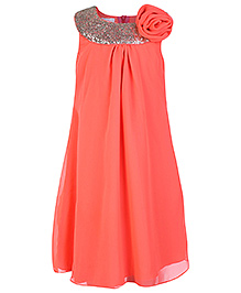 Peaches Fluorescent Orange Shimmer Boat Neck Party Dress