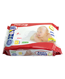 Pigeon Baby Wipes 80 Pieces , With soothing chamomile and pH 5.0, Alchohol-free, Unscented, Extra...