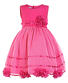 Peaches Fluorescent Pink Sleeveless Party Frock - Pleated Panel Waist