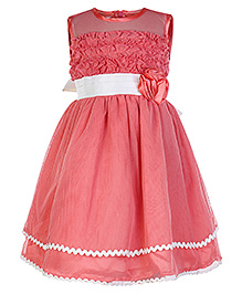 Peaches Pink Sleeveless Party Frock With Ruffled Bodice