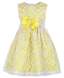 Peaches Sleeveless Net Party Frock - Yellow N White