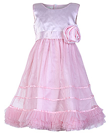 Peaches Sleeveless Party Frock With Frills And Rose - Pink