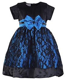 Peaches Half Sleeves Self Flower Design Net Party Frock - Black N Blue