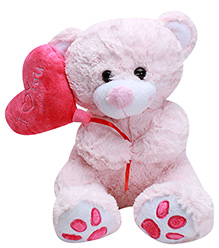 Play N Pets Pink Teddy Bear With Heart Large - 30 cm