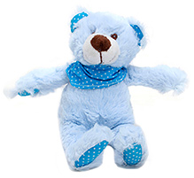 Play N Pets Teddy Bear With Scarf Blue - 20 cm
