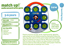 Leap Frog Match Up Audio Concentration Game 3 to 6 years, Box dimension 26.67 x 26.67 x 5.72 cm, Three levels allow...