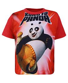 Kung Fu Panda Red Half Sleeves Printed T Shirt