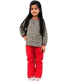 ShopperTree Leopard Print Top And Orange Trouser