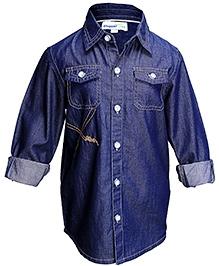 Shopper Tree Blue Full Sleeves Plain Shirt