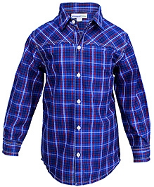 Shopper Tree Blue Full Sleeves Check Print Shirt