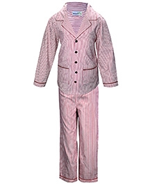 ShopperTree Full Sleeves Red Strip Pattern Night Suit