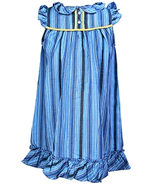 ShopperTree Blue Ruffled Sleeves Peter Pan Neck Nighty