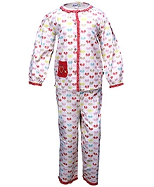 ShopperTree White Full Sleeves Night Suit - Butterfly Print