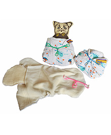 BumChum Organic Muslin Diaper Insert Snappi Set Of 3 Boy And Girl Print