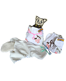 BumChum Organic Muslin Newborn Diaper Insert And Snappi Set Of 3 Baby Girl