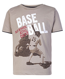 Kids Today Half Sleeves Brown T-Shirt - Base Ball Print