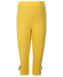 SAPS Yellow Three Fourth Leggings With Bow 6 to 12 Months, Soft and comfortable plain cotton leggings for girls