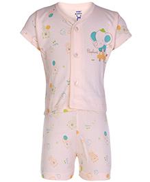 Pink Rabbit Short sleeves Printed Night Suit