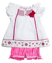 Nauti Nati Short Sleeves Butterfly Top Set - Pink and White