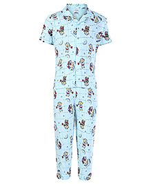 Ollypop Half Sleeves Teddy Print Night Suit - Blue