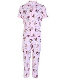 Ollypop Pink Half Sleeves Night Suit - Teddy Print