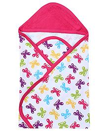 Morisons Baby Dreams Pink Hooded Towel - Butterfly Print