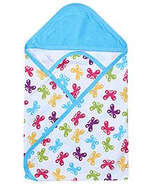 Morisons Baby Dreams Blue Hooded Towel - Butterfly Print