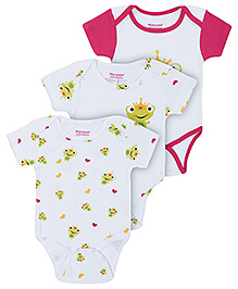 Morisons Baby Dreams Pink Half Sleeves Onesies - Pack Of Three