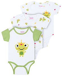 Morisons Baby Dreams Green Half Sleeves Onesies - Pack Of Three