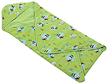 Morisons Baby Dreams Green Hooded Wrapper - Honey Bee Print