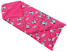 Morisons Baby Dreams Pink Hooded Wrapper - Honey Bee Print